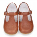 New Extra soft Nappa Leather T-strap shoes with buckle fastening in COWHIDE color.