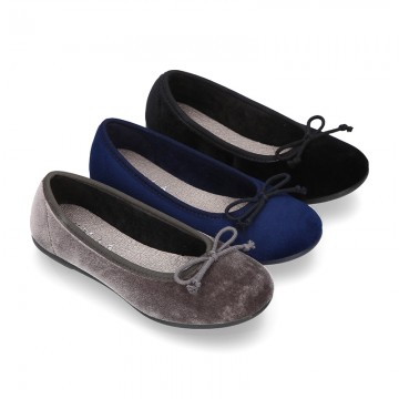 New Ballet flat shoes with bow in VELVET.