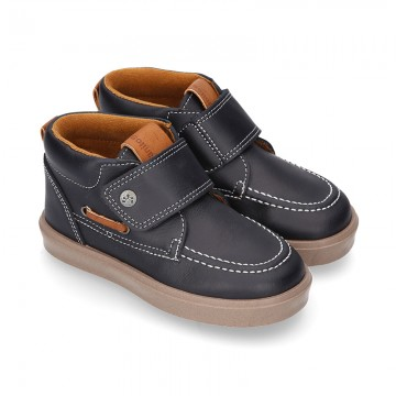 MOCCASIN Ankle boot shoes tennis style with velcro strap in NAPPA leather.