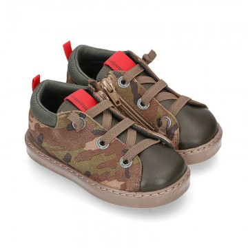CAMOUFLAGE design Ankle boot shoes tennis style with zipper and elastic shoelaces in NAPPA leather.