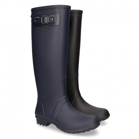 Knee High Rain boot shoes in matt colors and large sizes.