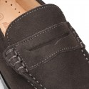 Suede leather Classic Moccasins for toddler boys with thick outsole and detail mask.