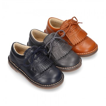 VINTAGE Nappa leather Laces up shoes with tab fringed design.