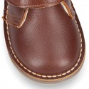 Nappa leather Safari boots with velcro strap and fake hair lining in COWHIDE color.