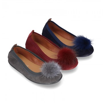 Suede leather ballet flat shoes with elastic band and POMPOM design.