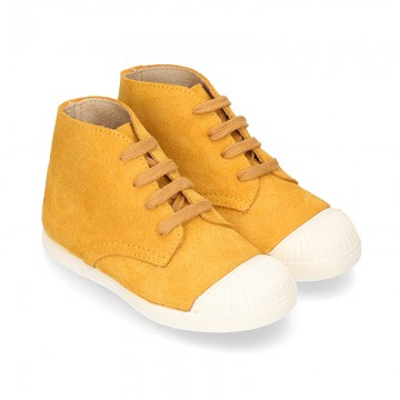 New MUSTARD suede leather Ankle boots with toe cap.