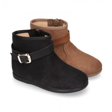 New girl Ankle boot shoes with BUCKLE design in Serratex autumn-winter canvas.