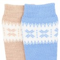 CHILDREN´S CLASSIC BORDER EMBROIDERY KNEE-HIGH WARM SOCKS BY CONDOR.