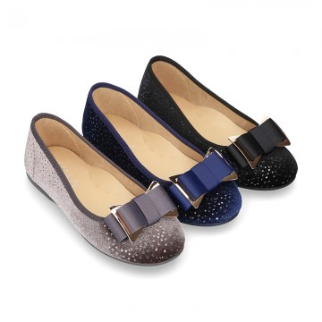 Autumn winter SHINY velvet canvas Ballet flats with big bow.