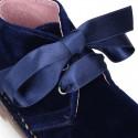 Classic VELVET safari boots with silk ties closure.