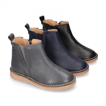 Casual SOFT NAPPA leather kids ankle boot shoes with elastic band and zipper closure.