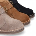 Suede leather Safari boots with buckle fastening for kids.
