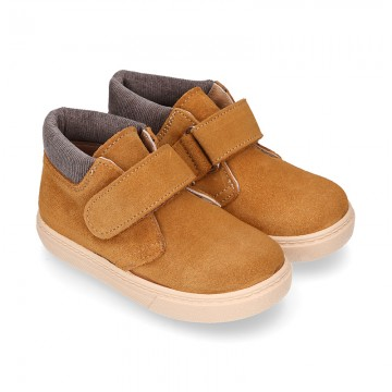 Suede leather kids Ankle boot shoes tennis style with velcro strap and CORDUROY neck design.