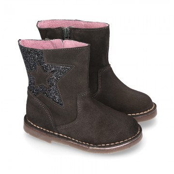 Suede leather GLITTER Boots with star design.