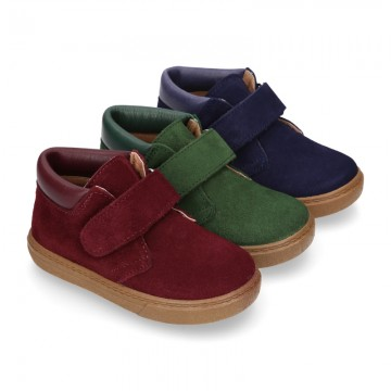 Suede leather kids Ankle boot shoes tennis style with velcro strap and NAPPA leather neck design.