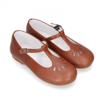 Little T-Strap Mary Jane shoes in nappa leather in COWHIDE leather color.