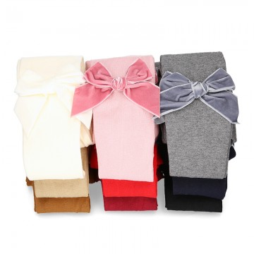 SIDE VELVET BOW COTTON TIGHTS BY CONDOR.
