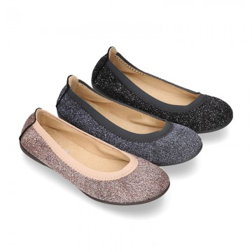 New Autumn Winter METAL Canvas Ballet flat shoes with elastic band.