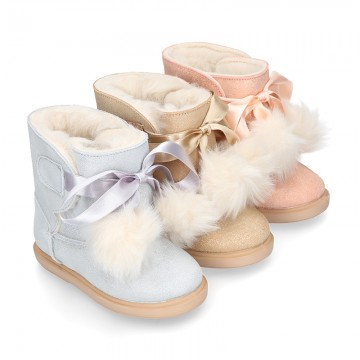 Autumn winter canvas lined boots Australian style with POMPONS design.