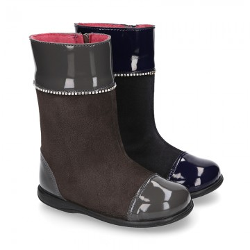 New suede leather boots combined with patent finish and CRYSTALS design.