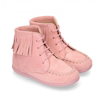 MOHICAN style ankle boots with fringed design in PINK suede leather.