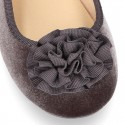 Little Mary jane shoes with hook and loop strap in velvet fabric.