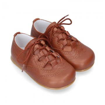 New little ENGLISH style shoes in soft nappa leather in COWHIDE color.