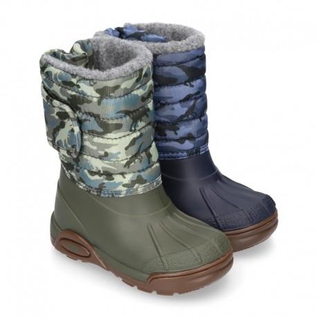 New Little rain boots APRESKI DINOSAURS style with wool knit lining.