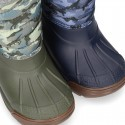 New Little rain boots APRESKI DINOSAURS style with wool knit lining.