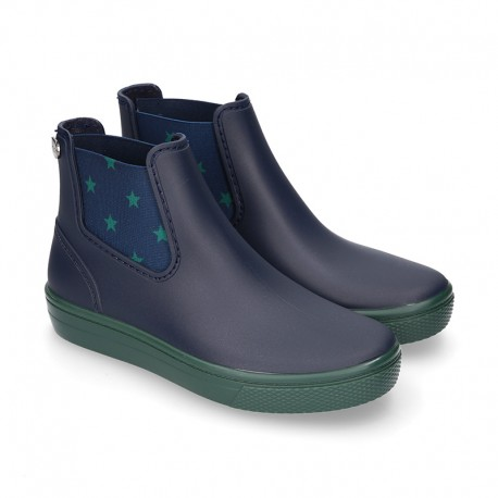 Ankle rain boots with elastic band and SNEAKER MINI STARS DESIGN.