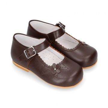 Classic BROWN NAPPA leather little Mary Janes with perforated flower design.