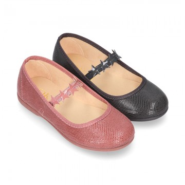 Little Ballet flat shoes with elastic band and STAR design in Print autumn winter canvas.