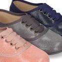 Autumn winter canvas LACES UP shoes with print design.