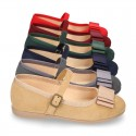 Autumn winter canvas OKAA Mary Janes with bow and buckle fastening.