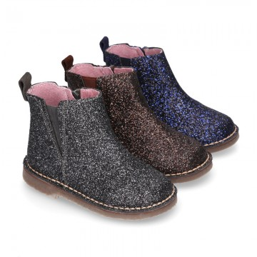 Dress GLITTER NAPPA leather kids ankle boot shoes with elastic band and zipper closure.