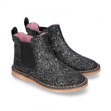 BLACK GLITTER NAPPA leather kids ankle boot shoes with elastic band and zipper closure.