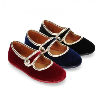 New stylized little Mary Jane shoes with velcro strap and button with GOLDEN design in velvet.