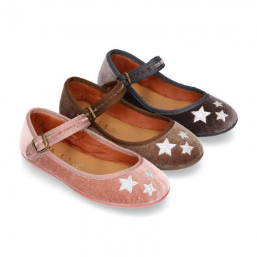 New Stylized velvet canvas little Mary Jane shoes with buckle fastening and STARS design.