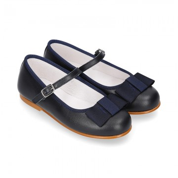 New little OKAA Mary Jane shoes with shoemaker ribbon in DARK NAVY NAPPA leather.