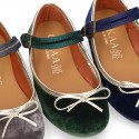 New stylized little Mary Jane shoes with GOLDEN RIBBON design in velvet.