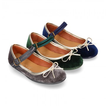 New stylized little Mary Jane shoes with GOLDEN RIBBON design in velvet.