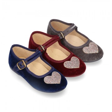 Velvet canvas Little Mary Janes with SHINY HEART design.