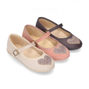 Autumn winter canvas Little Mary Janes with SHINY HEART design.