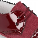 Combined leather little oxford shoes for babies with silk ties closure design.