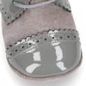 Blucher bebé combinado en piel charol con serraje.