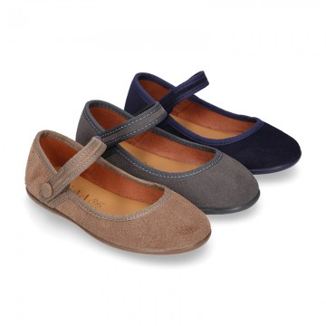 Halter Mary Jane shoes in suede leather with VELCRO and BUTTON fastening.