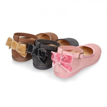 Mary Janes with VELVET BOW design in autumn winter canvas.