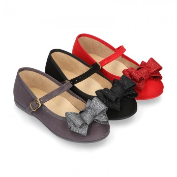 Cotton canvas little Mary Jane shoes with bIg BOW.