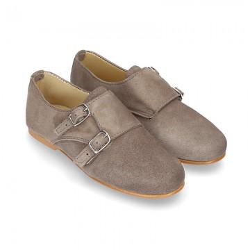 Zapato de vestir niña tipo Blucher con DOBLE HEBILLA en Piel serraje.