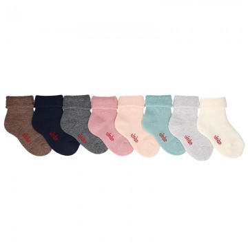 BABY NON-SLIP TERRY COTTON SOCKS WITH PATTERNED CUFF BY CONDOR.